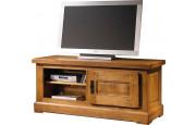 10584 - Meuble TV-Hifi chêne massif ciré 1 porte fiches à lacet