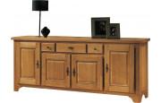 10604 - Buffet chêne massif ciré 4 portes 3 tiroirs