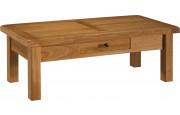 10613 - Table basse rectangulaire chêne massif ciré 1 tiroir