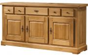 10662 - Buffet chêne massif ciré 3 portes 3 tiroirs