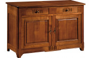 10886 - Buffet merisier 2 portes 2 tiroirs à cannelures