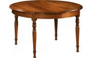 10890 - Table ronde merisier Ø120 pieds tournés 4 allonges
