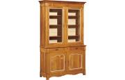 10925 - Buffet vaisselier merisier laqué 2 corps 2 portes 2 tiroirs