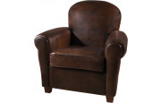 Fauteuil club rond Griffe cuir basane chocolat