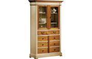 10939 - Buffet vaisselier merisier laqué 4 portes 1 tiroir