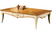 10962 - Table basse rectangulaire merisier laquée 2 tiroirs