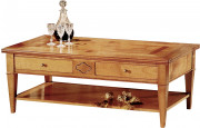 10976 - Table basse rectangulaire merisier 4 tiroirs