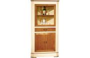 10978 - Buffet vaisselier d'angle merisier laqué 3 portes 1 tiroir