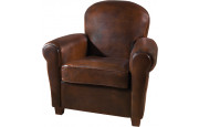 Fauteuil club rond Griffe cuir basane tabac