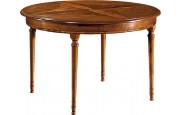 11014 - Table ronde merisier Ø120 pieds tournés 4 allonges