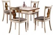 11021 - Ensemble table carrée de jeux merisier 4 chaises