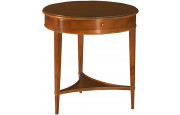 11076 - Table de téléphone ronde merisier 1 tiroir