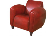 1147 - Fauteuil club British Style Modus cuir basane rouge