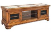 11527 - Meuble TV - Hifi bas LCD-plasma Merisier plateau marbre