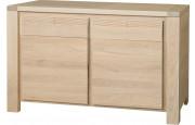 11760 - Buffet chêne naturel 2 portes 2 tiroirs décor cannelé