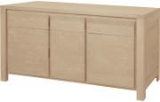 11773 - Buffet chêne massif naturel 3 portes 3 tiroirs décor cannelé