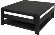 11787 - Table basse carrée double plateau 1 tiroir chêne wengé