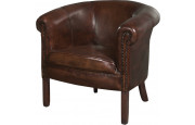 1229 - Fauteuil club cabriolet Texas cuir basane clouté chocolat