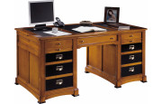Bureau informatique merisier 5 tiroirs 1 porte laque noire L160