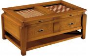 Table basse jeux 2 tiroirs 2 plateaux