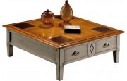 13003 - Table basse carrée laquée gris 4 tiroirs 2 tirettes