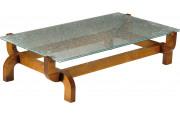 13025 - Table basse rectangulaire plateau verre marbré