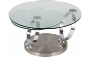 1372 - Table basse ronde en verre socle inox