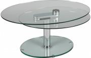 1404 - Table basse ovale en verre