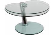 1410 - Table basse verre et acier plateau pivotant