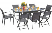 Ensemble Modulo 8 table carrée 4 chaises et 4 fauteuils aluminium