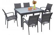 Ensemble Modulo 6 table rectangulaire et 6 fauteuils aluminium