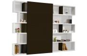 2428 - Bibliothèque design laque blanc brillant porte coulissante