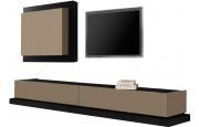 2476 - Composition design meuble TV laque et chêne 2 tiroirs