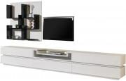 2484 - Composition design meuble TV laque blanc brillant 5 tiroirs