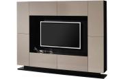 2514 - Meuble TV design laqué taupe 4 portes 4 tiroirs