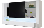 2519 - Ensemble TV design laqué blanc lumières 4 tiroirs