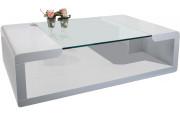 2534 - Table basse design laqué blanc plateau verre