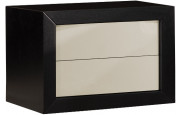 2636 - Chevet design laqué taupe chêne 2 tiroirs
