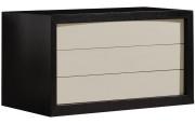 2640 - Commode design laque taupe chêne 3 tiroirs
