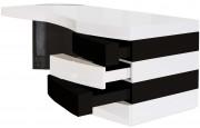 2716 - Bureau design laqué blanc et noir 4 tiroirs