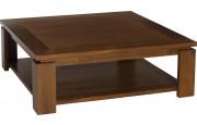 Table basse teck carrée sous plateau