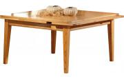 3598 - Table carrée chêne L135 pieds fuseau