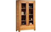 3956 - Bibliothèque chêne 2 portes vitrées 1 tiroir