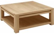 4683 - Table basse carrée chêne double plateau