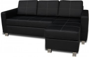 8135 - Salon d'angle reversible noir pieds chromé