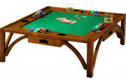 8501 - Table basse de poker carrée 4 tiroirs merisier