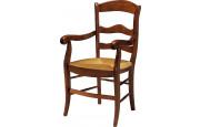8760 - Fauteuil merisier 3 barreaux assise paille