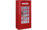 Armoire enfant cabine téléphonique rouge 2 portes 1 tiroir