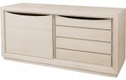 Bahut 1 porte coulissante 4 tiroirs chêne massif blanc pierre