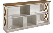 Bibliothèque basse ouverte blanc 5 cases décors croisillons